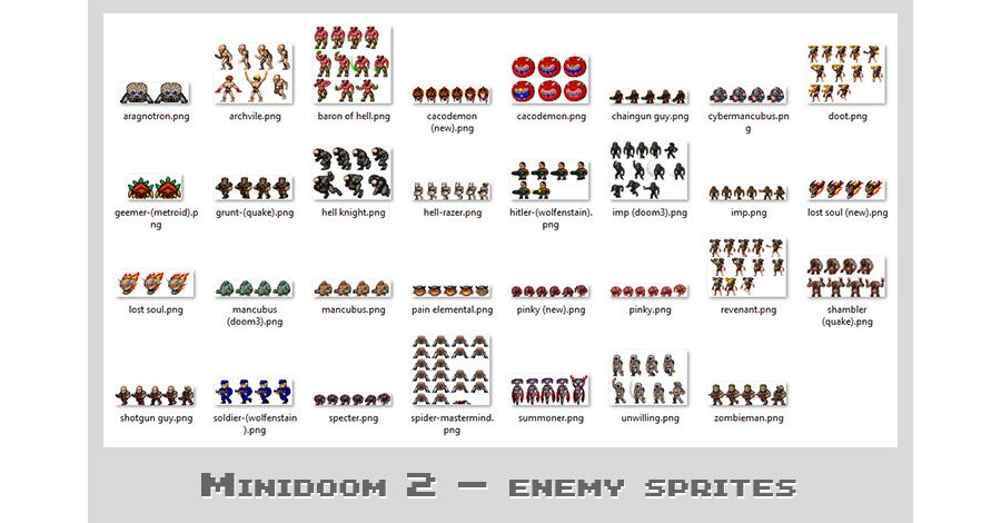 MiniDoom 2 sprites - Enemies